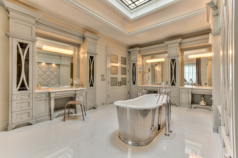 Bathroom leaded glass dome skylight Bridle Path for luxurious custom built residence in Toronto. Bathroom interior design