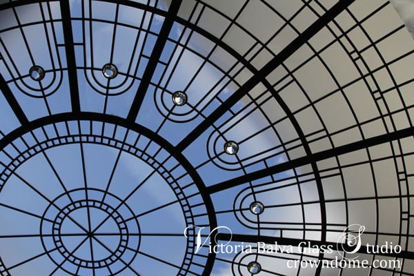 Contemporary stained leaded glass dome for great foyer of a custom built residence in Toronto