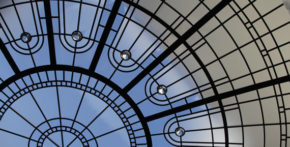 Large custom stained leaded glass dome Rising Star