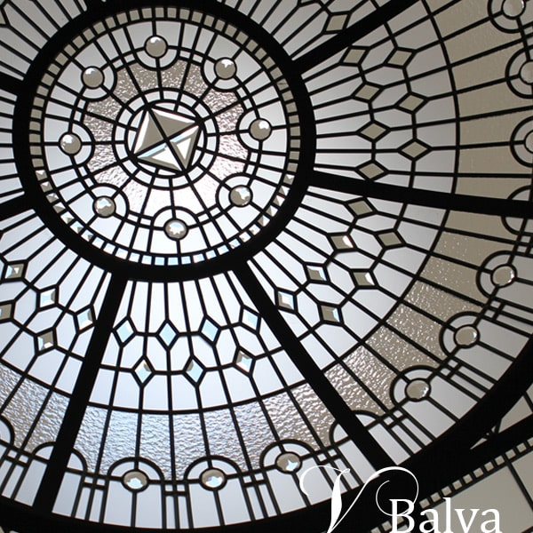 Bathroom stained leaded glass dome skylight The Bridle Path