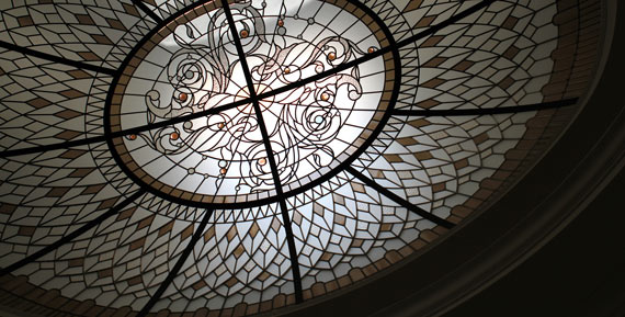 Large custom oval stained leaded glass dome Larissa