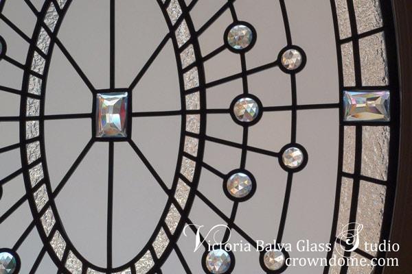 Modern stained leaded glass oval window
