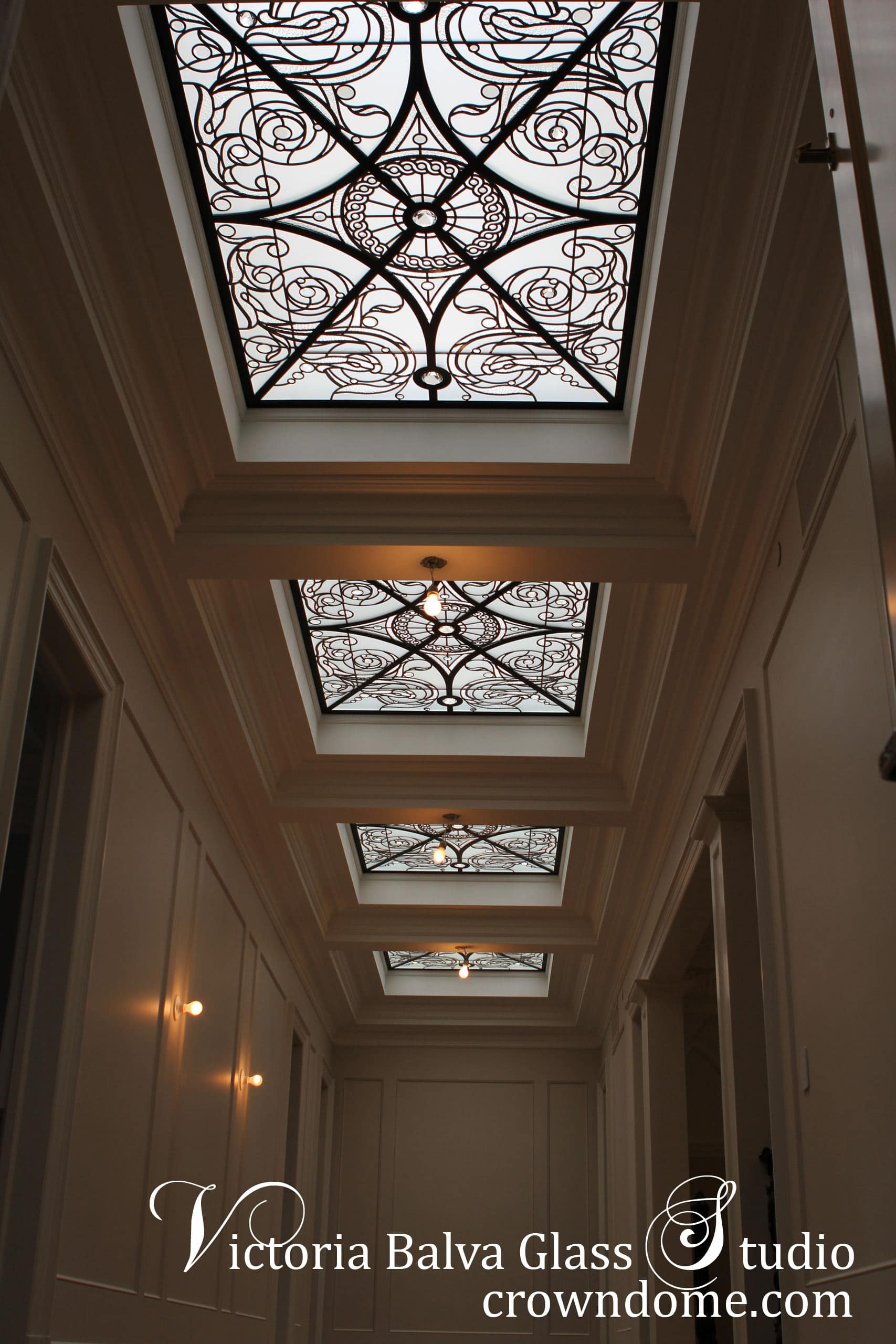 stained glass skylights for the hallway of a luxury custom built residence in King City