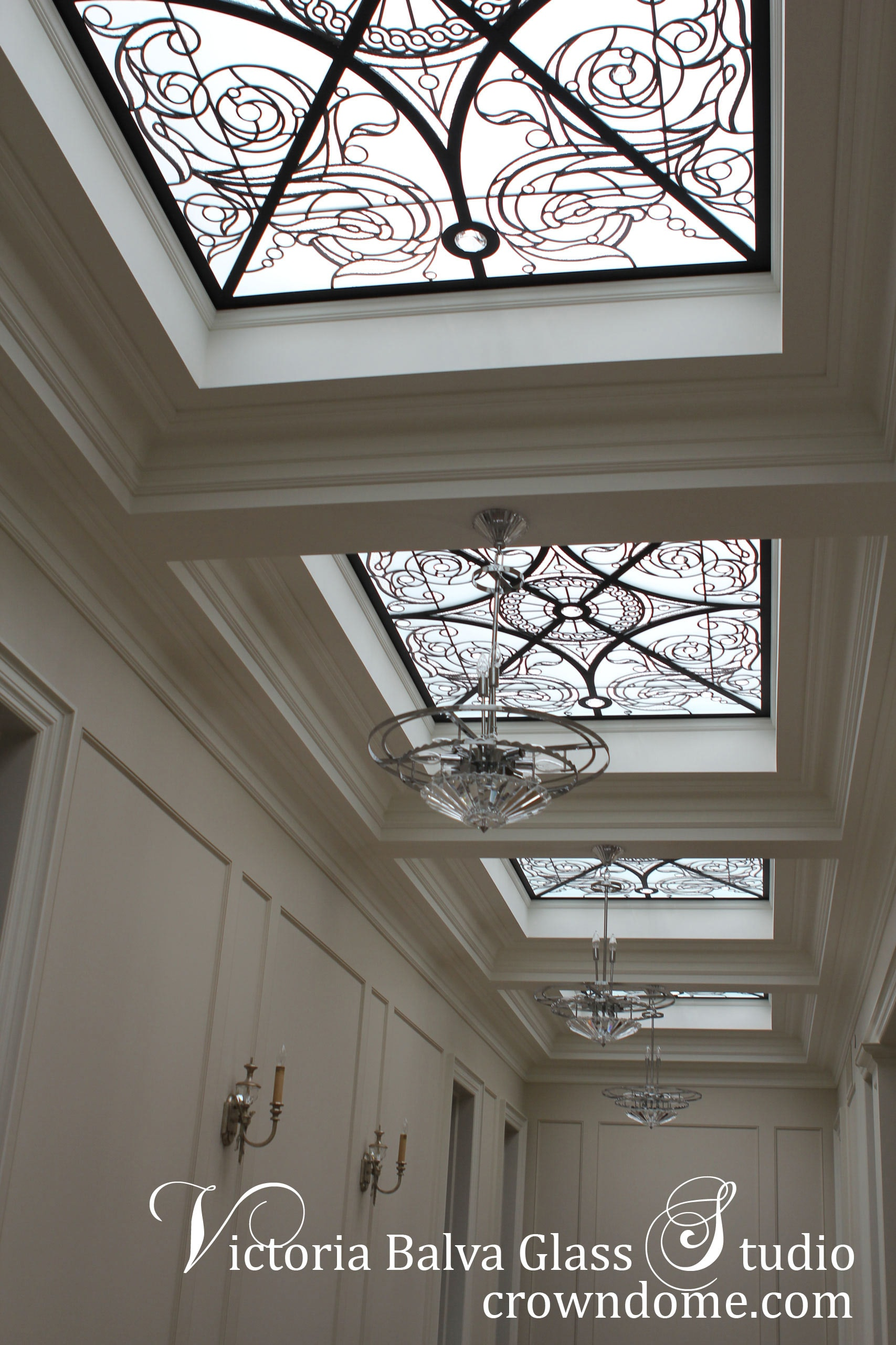 Decorative glass skylight ceiling Germana in classic style with large crystal jewels for a hallway of a luxury built private residence. Clear textured glass, beveled glass, clear crystal jewels. Original design by glass artist Victoria Balva