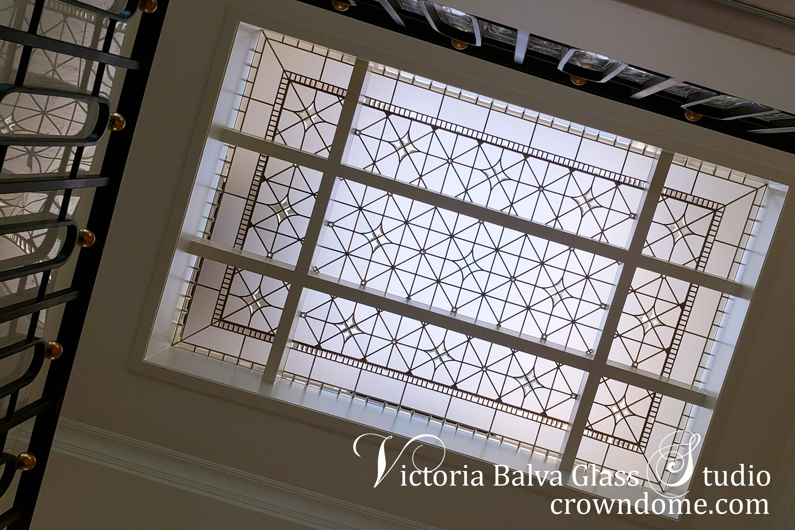 Contemporary clear leaded glass skylight custom designed fabricated with acid etched glass, crystal jewel accents and handcrafted bevelled glass for a luxury custom built residence in Thornhill, ON