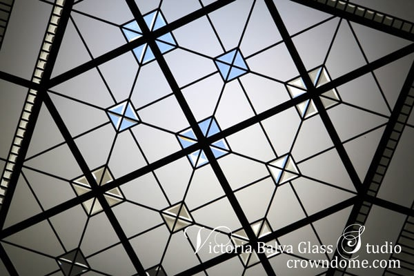 Stained bevelled leaded glass skylight ceiling for a staircase landing of custom built house in Toronto
