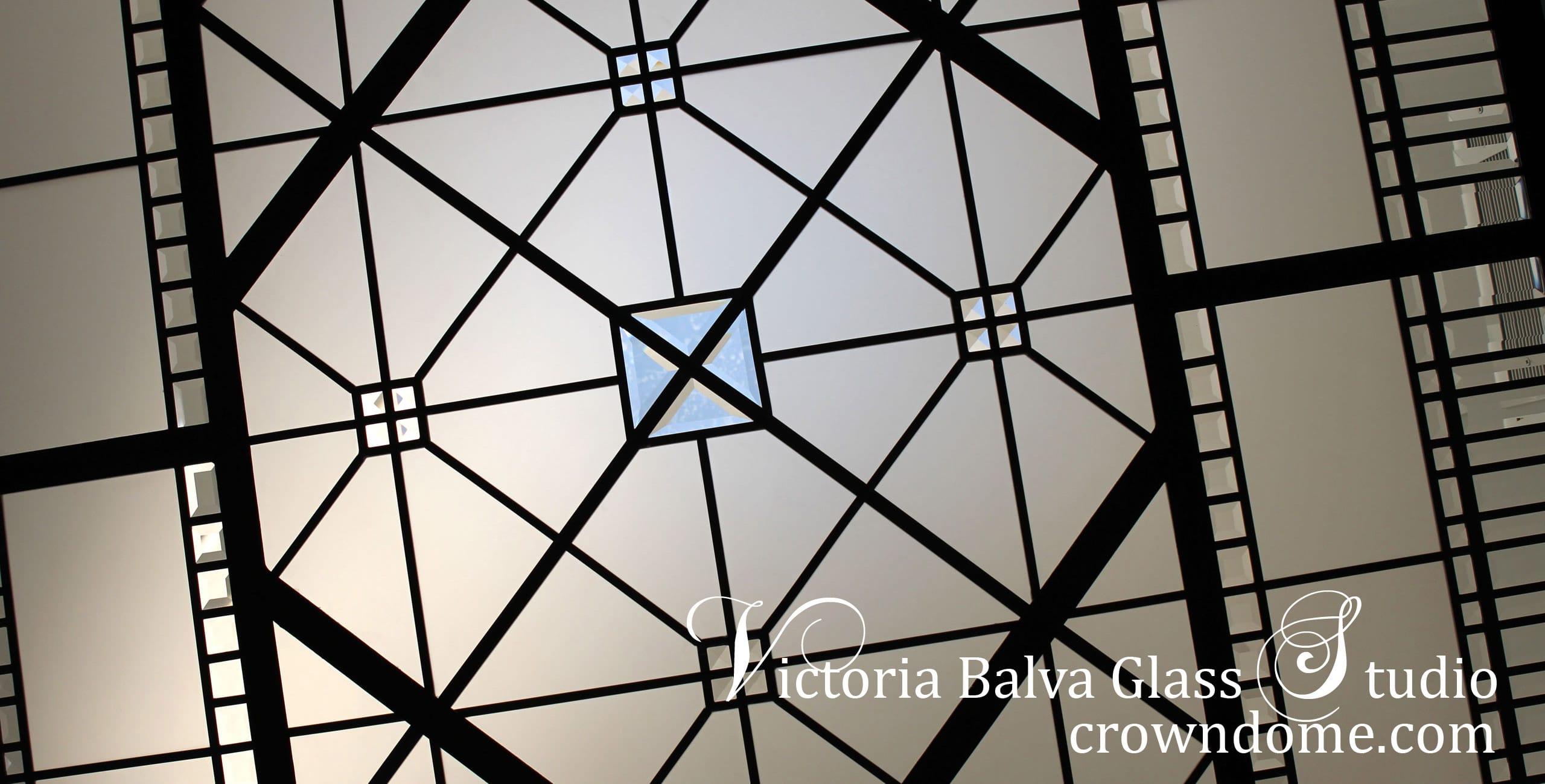 Small leaded glass skylight ceiling for a bathroom of a luxury custom-built residence in Toronto. Simple geometrical design inspired bythe historical leaded glass skylights of Great BritainCastles.Leaded glass skylight design by stained glass artist Victoria Balva