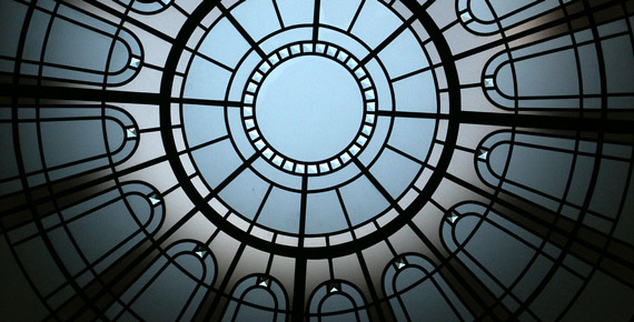 Stained leaded glass skylight ceiling Montresor