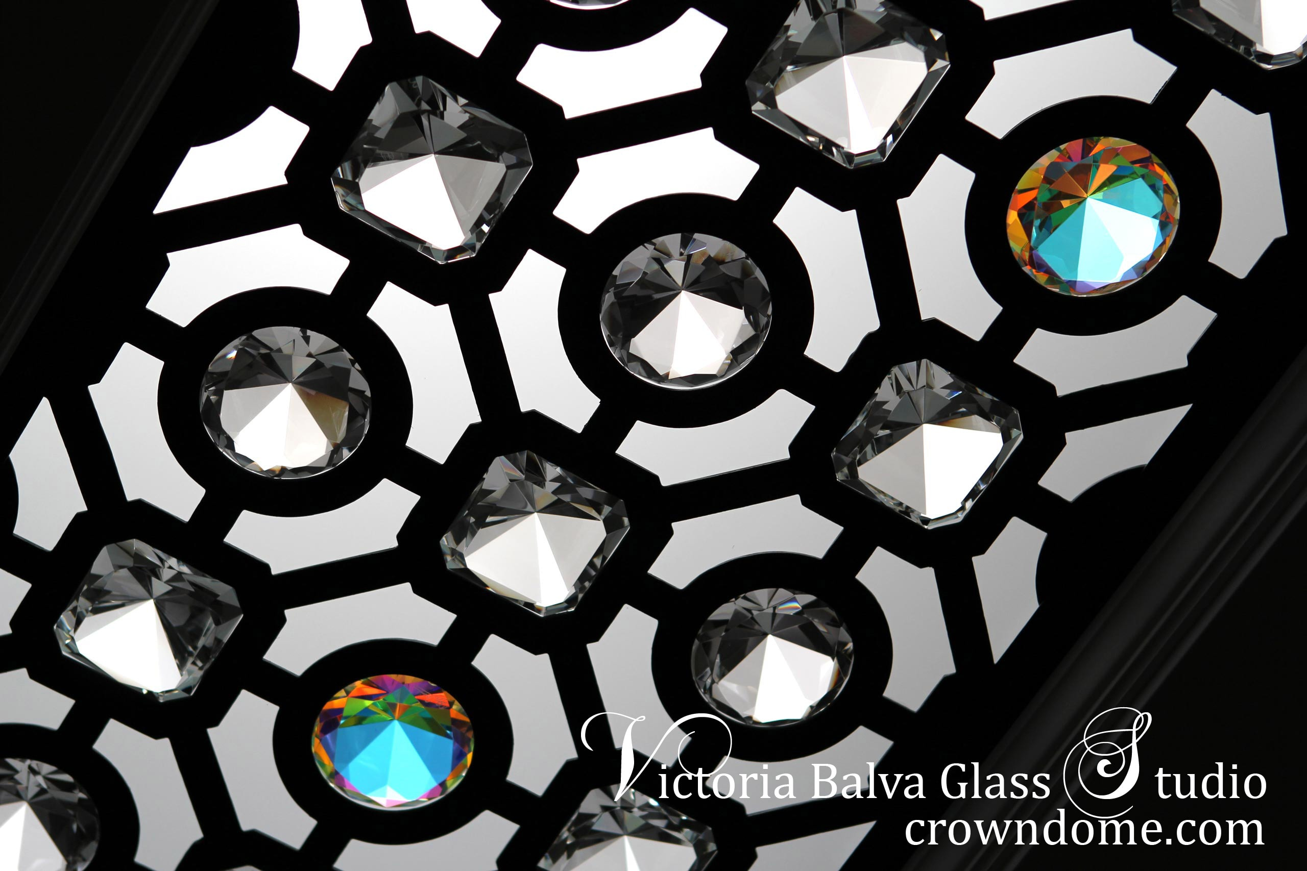 Small ornamental glass skylight ceiling design for a bathroom of a luxury custom-built residence in King City by stained glass artist Victoria Balva. CNC cut ornamental metal, laminated glass, and extra large crystal clear and iridized jewels