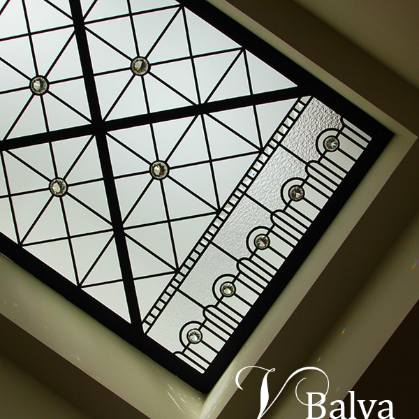 Contemporary stained leaded glass skylight CrossRoads