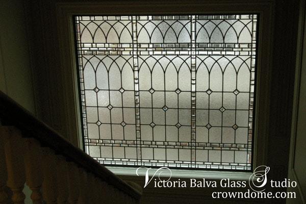 leaded glass window staircase landing custom built toronto