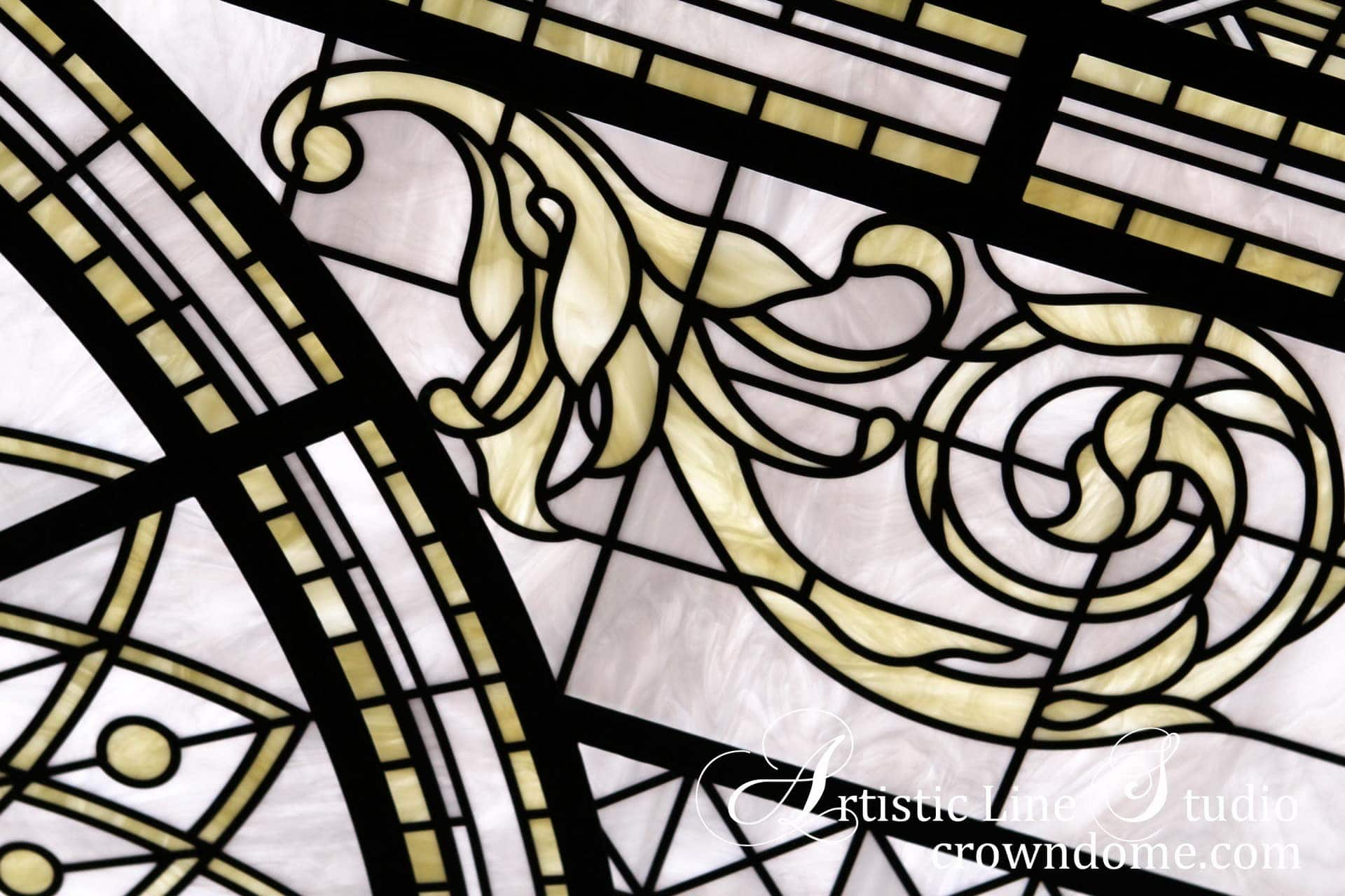 Leaded glass skylight detail with acanthus