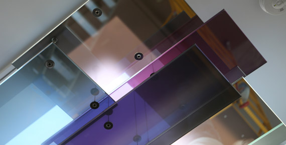 Contemporary minimalist art glass installation Riverside
