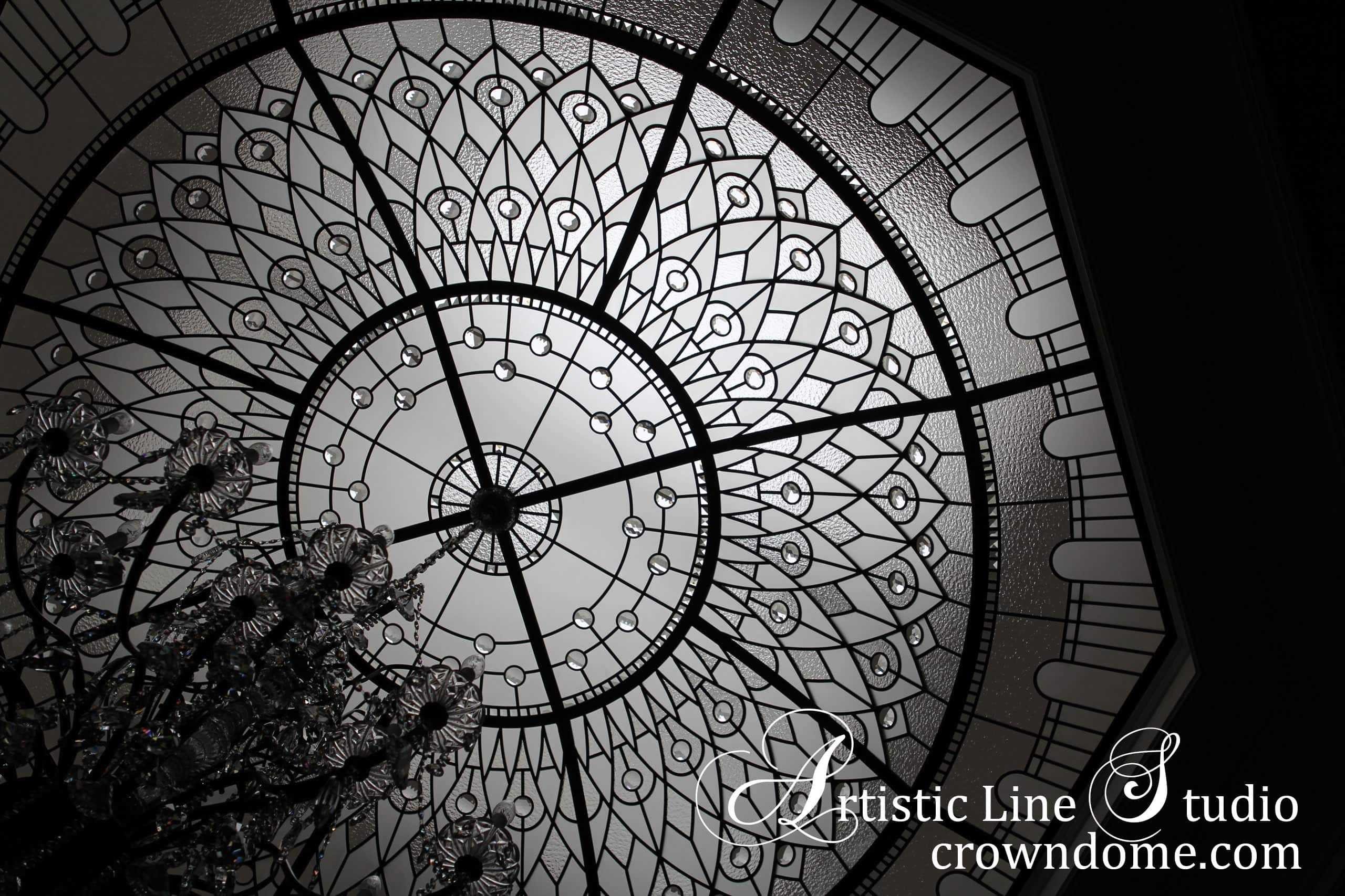 Leaded glass domed octagon skylight with clear bevelled glass and large crystal jewels