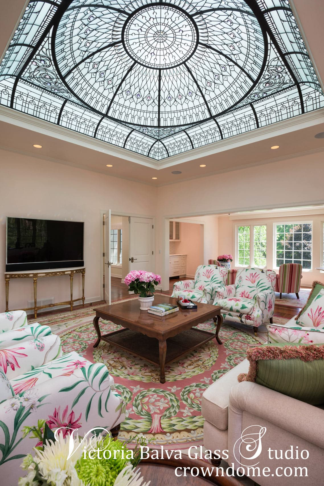 Ornamental stained glass dome ceiling for a great room of custom built addition in Wayzta, Minneapolis, Minnesota