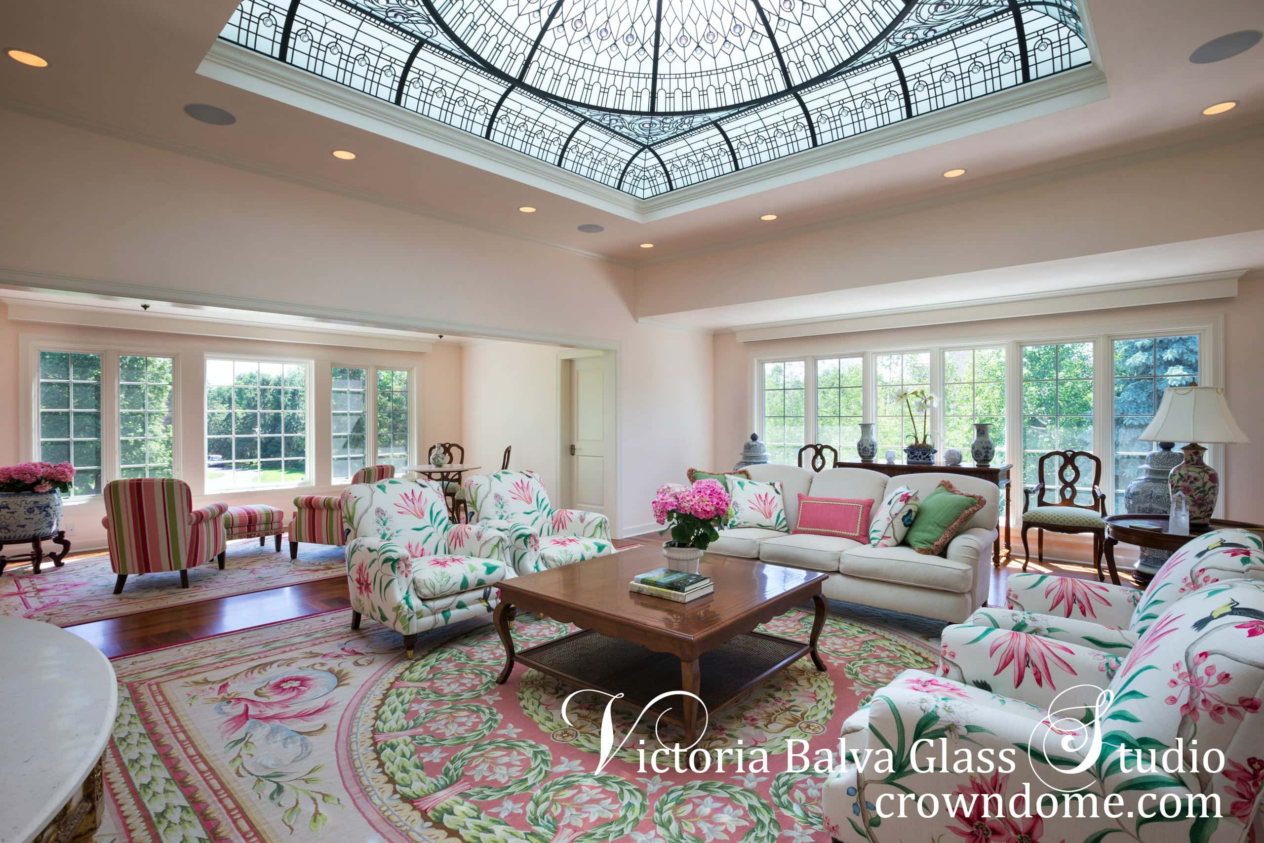 Ornate custom designed stained glass dome ceiling for a great room of a private residence in Minneapolis,