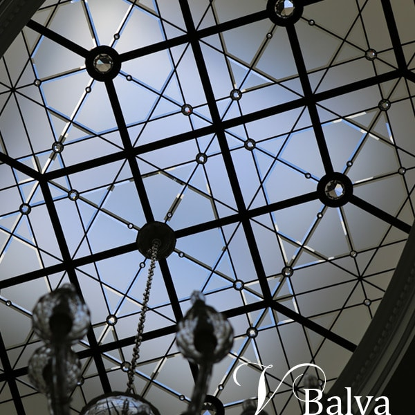 Modern oval stained glass skylight with crystal chandelier EdgeHill