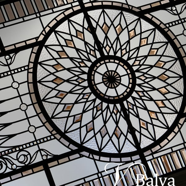 Stained leaded glass skylight ceiling Marion