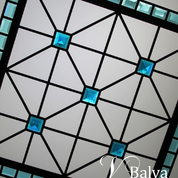 Octagon stained glass skylight Little Turquoise Gemstone