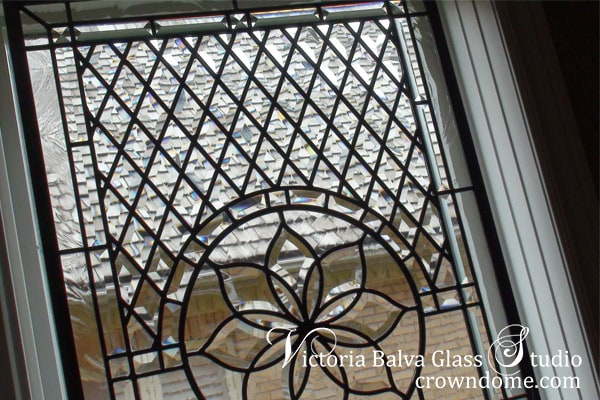 Stained bevelled glass window set in classic style for a family room