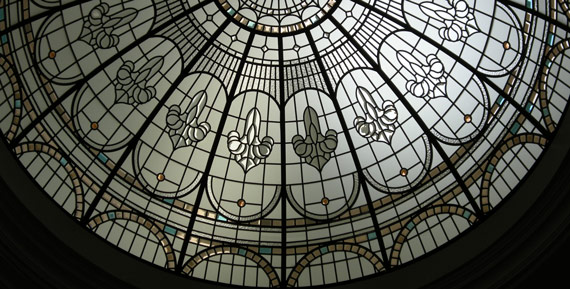 Luxurious beveled stained glass dome Angelica