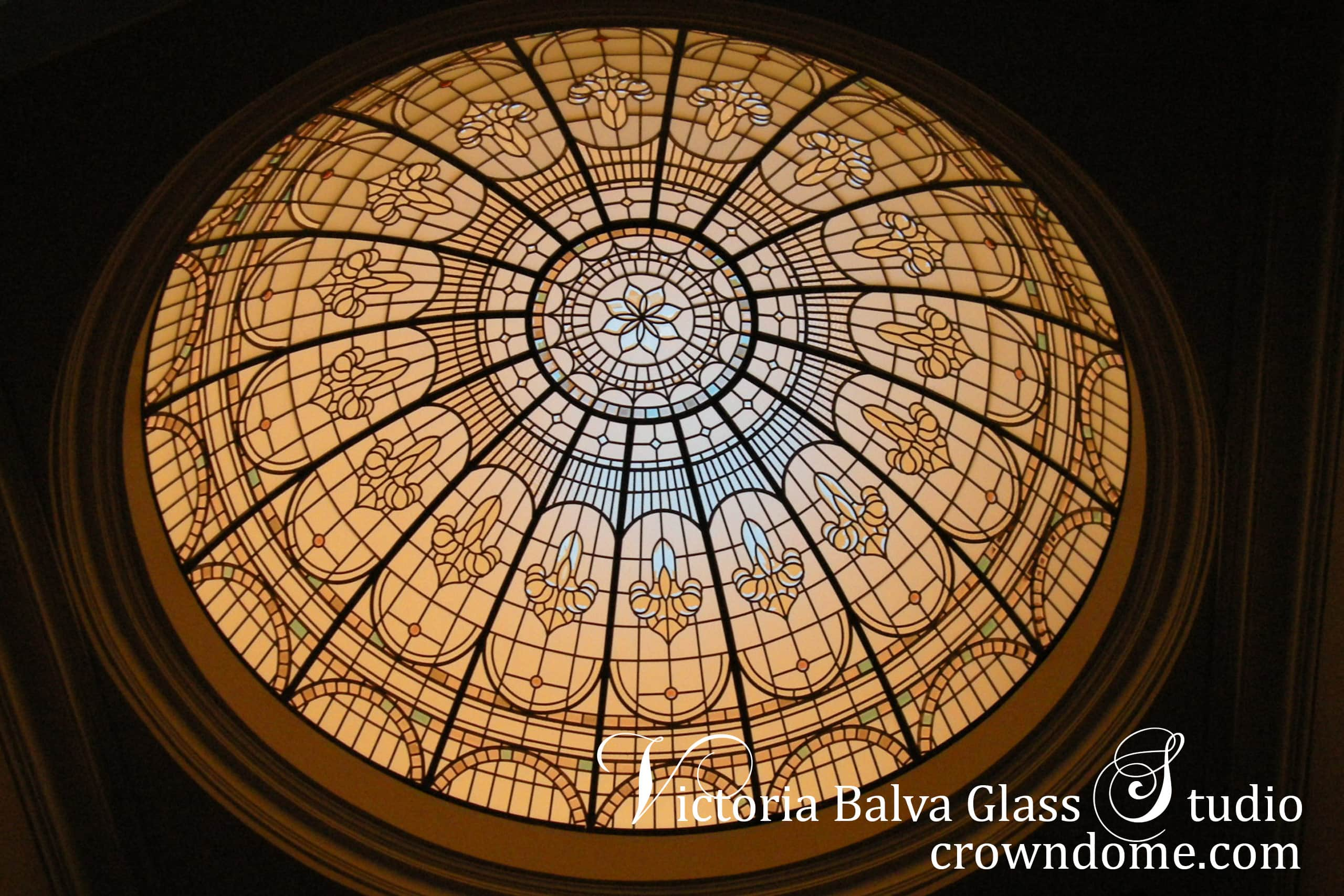 Stained glass dome with artificial light in the evening