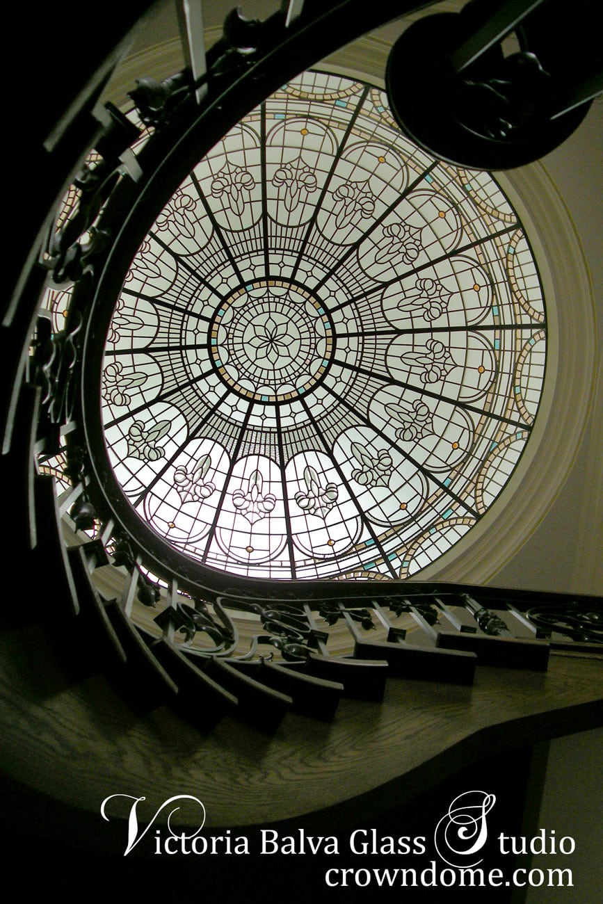 stained glass dome abov stairwell of a custom built home
