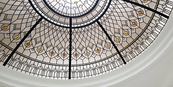 Custom stained leaded glass dome Golden Star