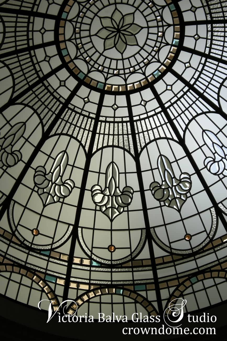 stained glass dome with custom colored hand bevelled glass and crystal jewels accents for a custom built home