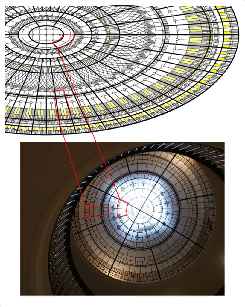 design comparison of various elements of copycat oval dome for huawei headquarters and original Victoria Balva stained glass dome Copyright infringement dispute substantial copy