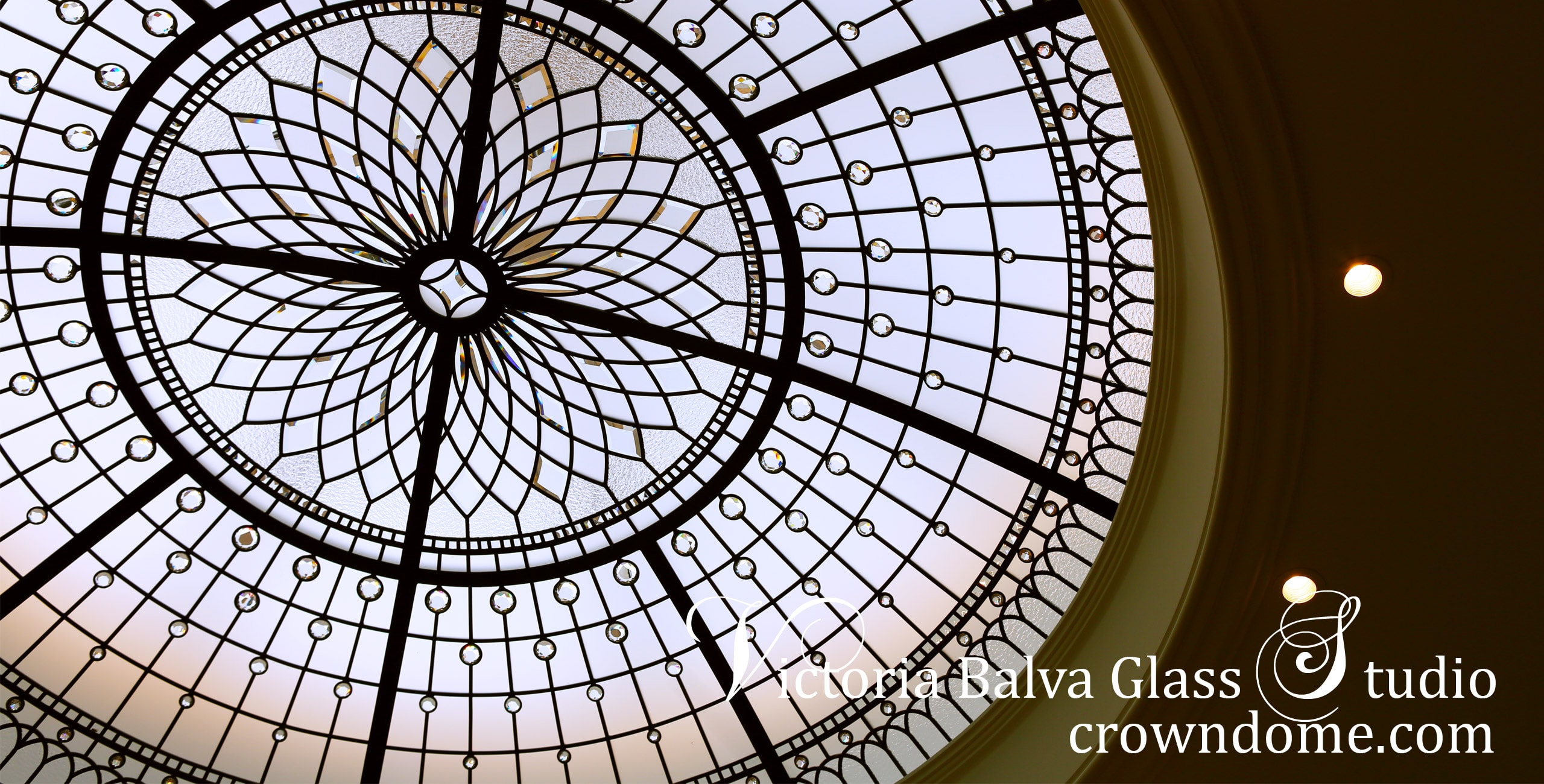 Stunning stained leaded glass dome in minimal design for a custom built residence in Lawrence, Long Island, New York