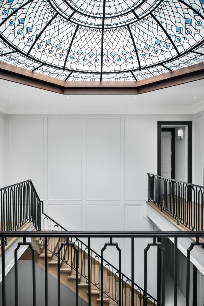 Stained glass dome Blue Lotus for double height entrance foyer of a luxury private residence in Toronto. Image credit L Developments