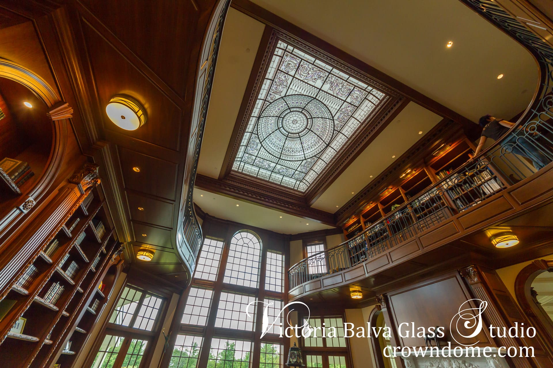 Stained glass dome skylight with delicate elusive colors of custom hand beveled glass for a luxury custom built residence in Connecticut.