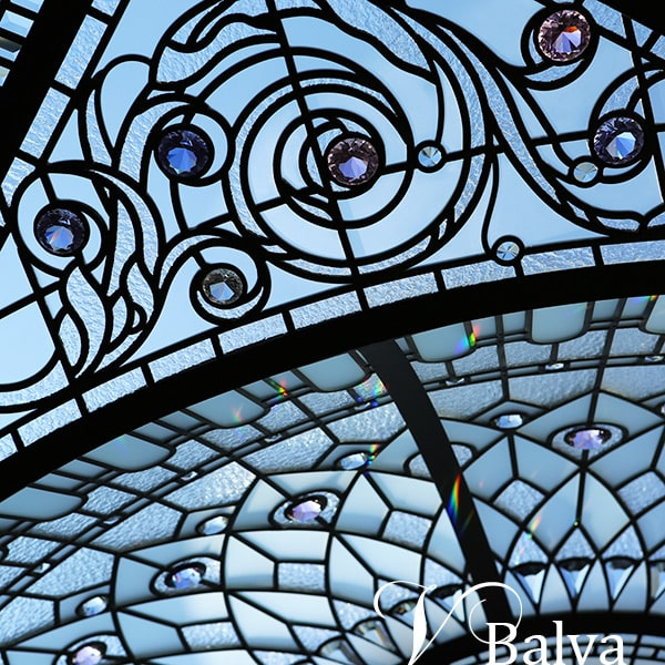 Custom stained leaded glass domed skylight Wayzata