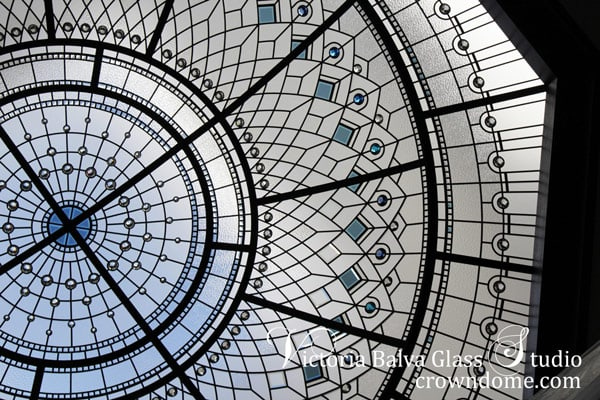 Stained leaded octagon glass dome skylight ceiling with colored custom bevelled glass and crystal jewels for custom built home in Toronto