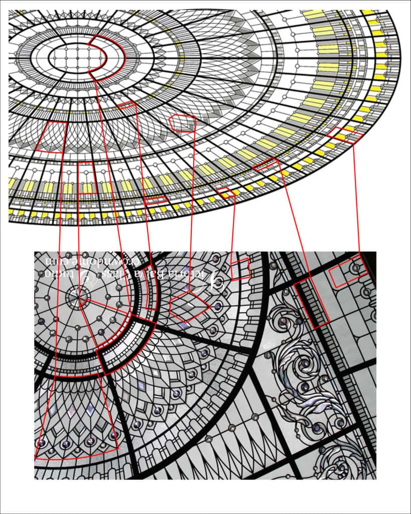 Design comparison of various elements of copycat oval ceiling and original Victoria's Balva glass ceiling. Copyright infringement dispute Huawei headquarters substantial copy