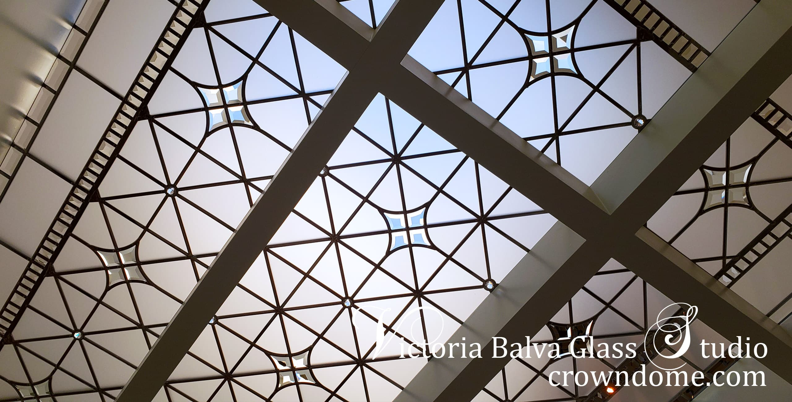 Close up detail of contemporary leaded glass skylight custom designed with acid etched glass, crystal jewels and handcrafted beveled glass for a luxury custom built residence in Thornhill, ON