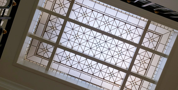 Custom designed leaded glass skylight Reaching for the Stars