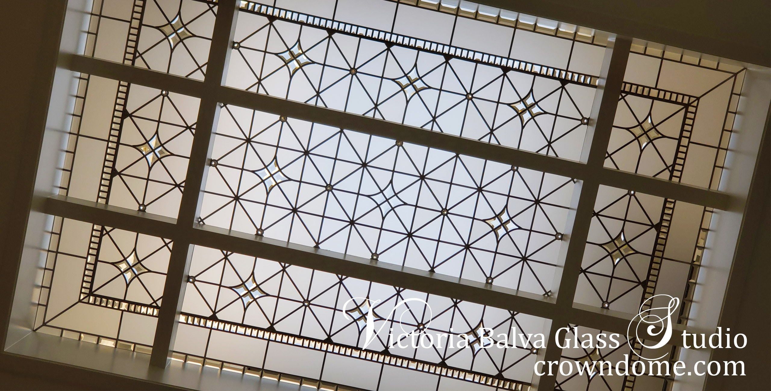 Classically inspired architectural art glass skylight custom designed and fabricated for a luxury custom built real estate in Thornhill, ON