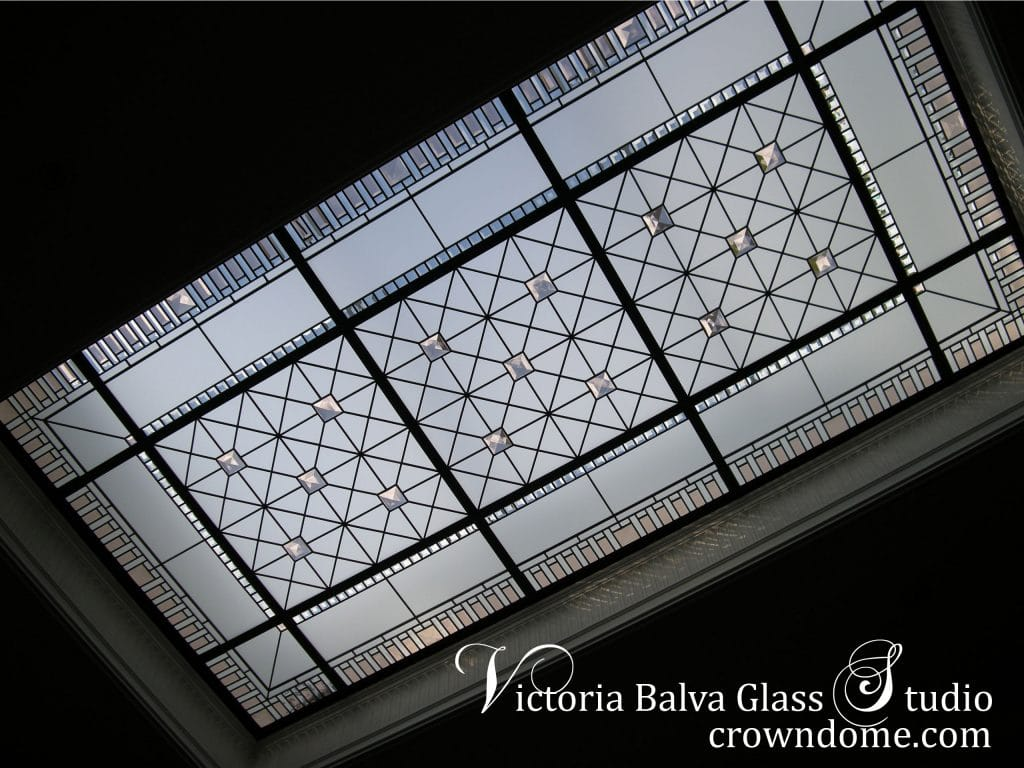 Large stained leaded glass skylight ceiling Barbini with delicate elusive colors of custom beveled glass and colored jewels. Intricate line work, clear textured glass, original stained leaded glass skylight design by architectural glass artist Victoria Balva