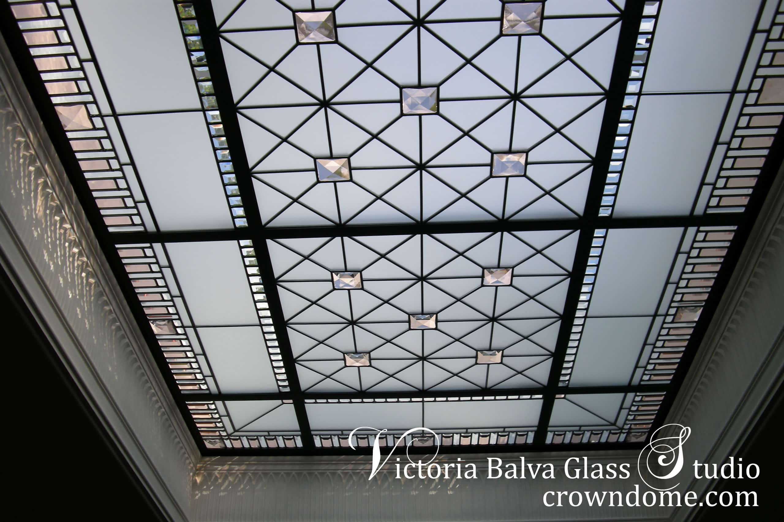 Leaded glass skylight w clear acid, colored  beveled glass and custom made jewels detail
