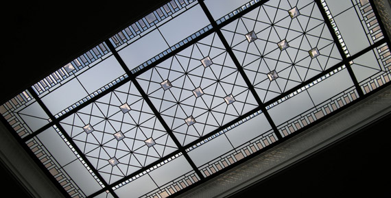 Large stained leaded glass skylight Barbini