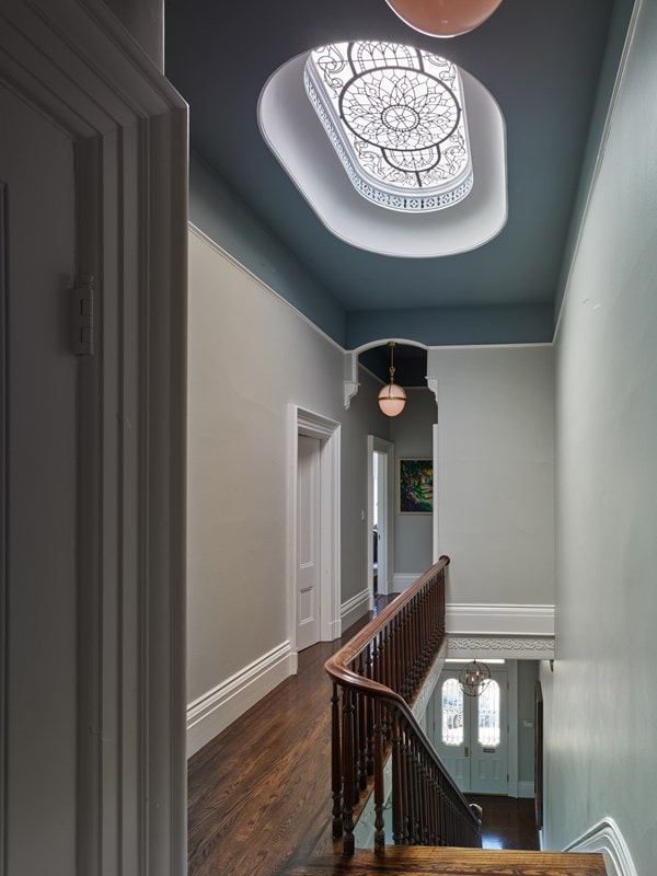 Pacific Heights, a set of stained glass windows and decorative glass skylights for the client in San Francisco
