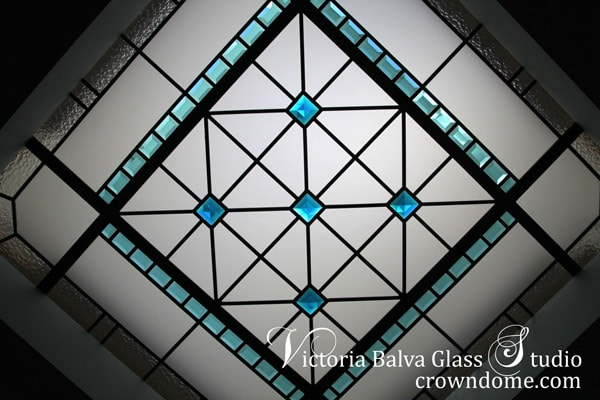 Contemporary stained leaded glass skylight ceiling with torquoise bevelled glass