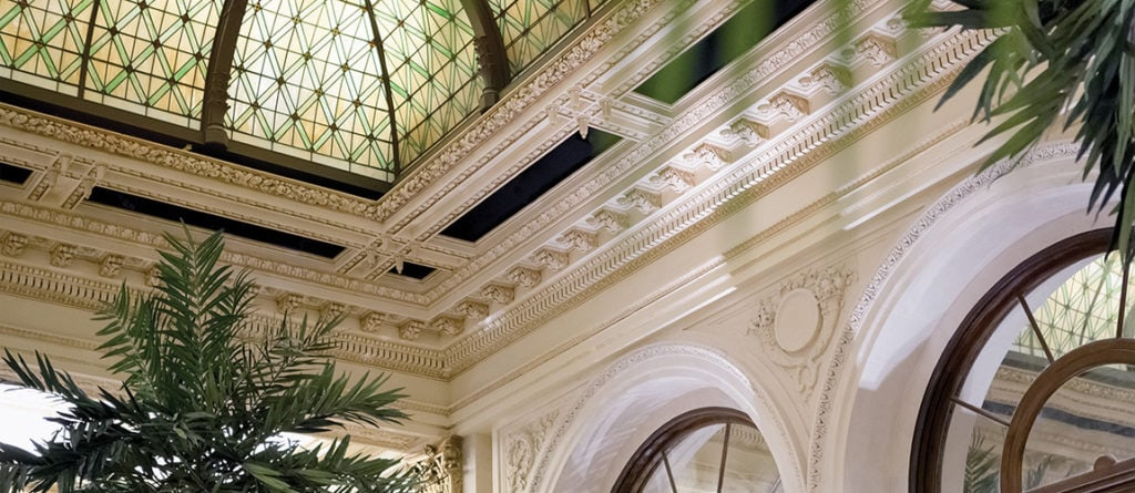 Detail of glass domed ceiling in the atrium of Plaza Hotel in New York.