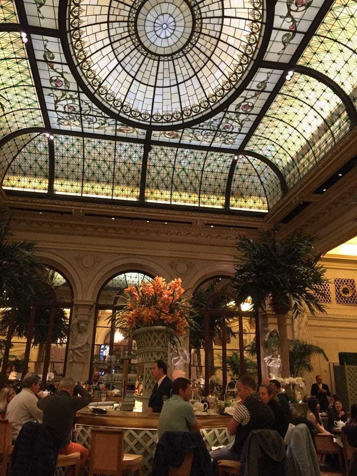 New York stained glass domed ceiling at the Plaza Hotel with artificial light. The best afternoon tea