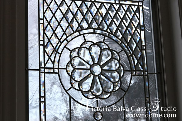 Stained leaded bevelled glass window set custom built residence in Richmond Hill