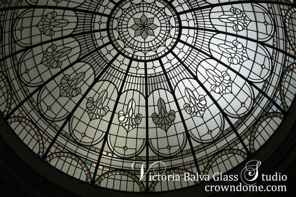 Stained leaded glass dome with custom colored beveled glass and jewels for a grand foyer of custom built residence in Great Neck, New York