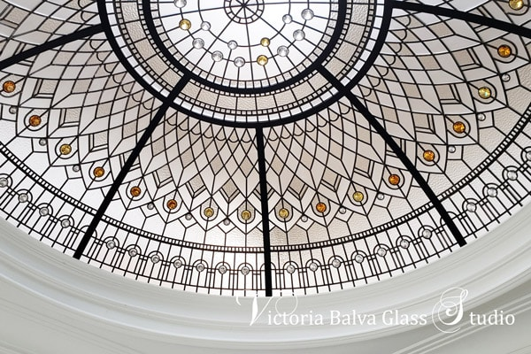 stained leaded glass custom dome with amber and golden crystal jewels accents for a custom built house in Brampton