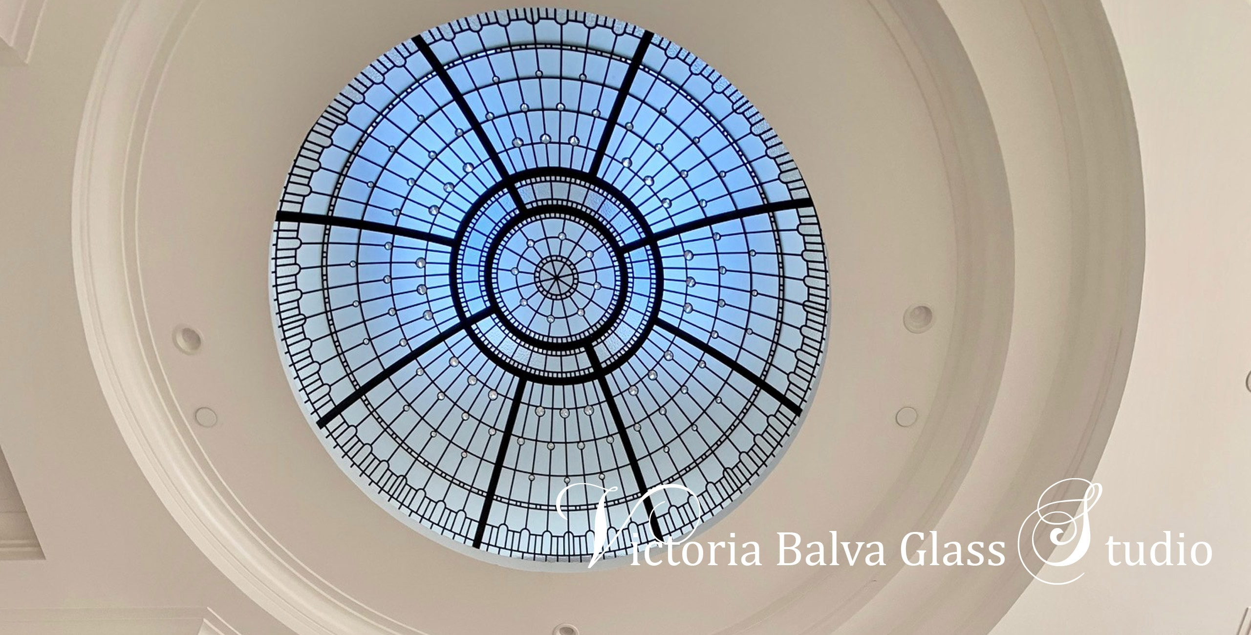 Custom designed stained leaded glass dome with crystal jewels accent glass for a luxury residence in Los Angeles
